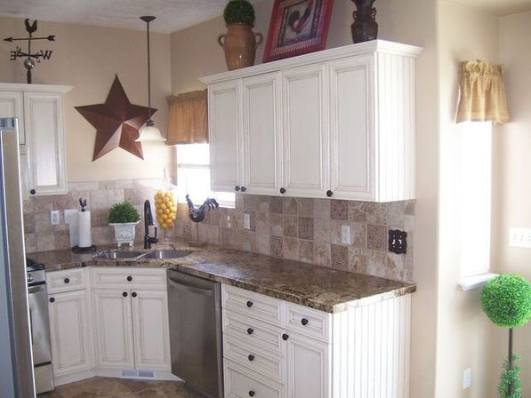 White laminate kitchen cabinets, photo