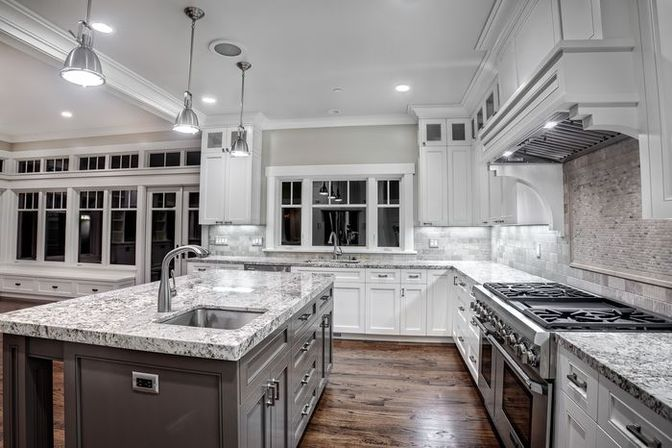 White granite kitchen, 14 photo