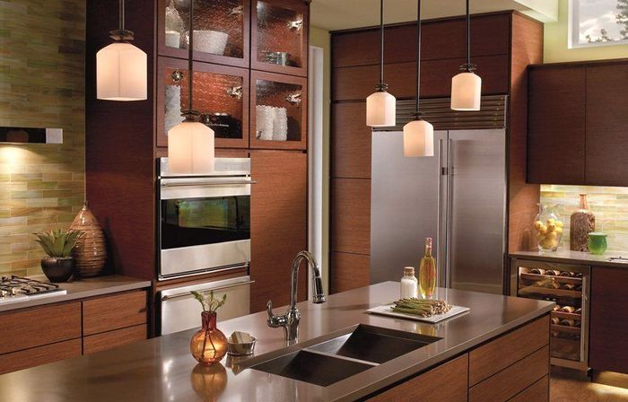 Kitchen pendant lighting: options, ideas and main rules