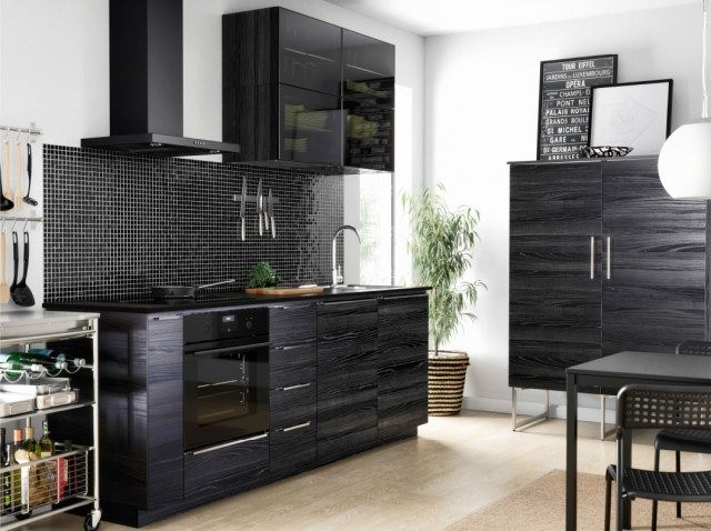 Very stylish kitchen is in black