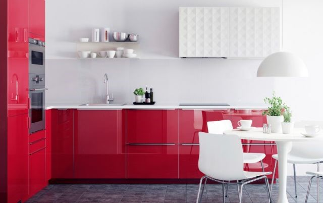 IKEA has two types of red kitchens with gloss or matt