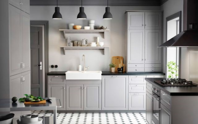 The gray kitchens draw a lot of attention in IKEA