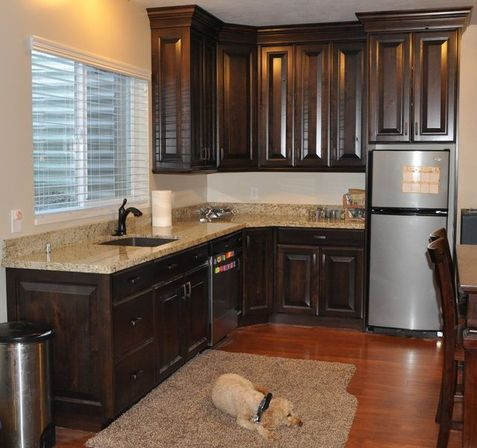 The value of the walnut kitchen cabinets