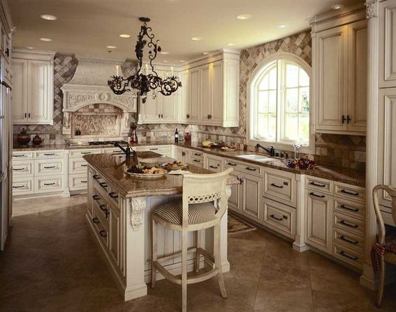 White antique kitchen cabinets, photo