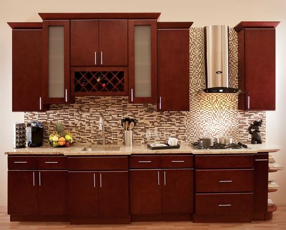 Wood kitchen cabinets and using
