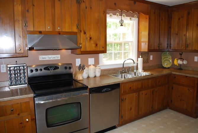 knotty pine kitchen cabinets painted white painting black before and after home designs decor