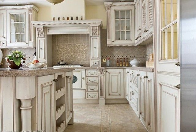 White antique kitchen cabinets are the frequent enough colour decision  accepted by house owners all over the world. Only on the face of it it can  show ... - Antique White Kitchen Cabinets, Photo Kitchens Designs Ideas