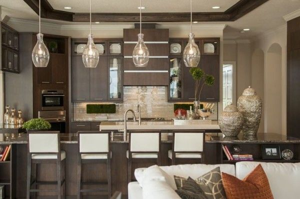 Glass pendant lights for kitchen island kitchens designs Modern kitchen pendant lighting ideas