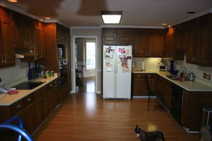 Re-staining kitchen cabinets