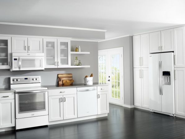 Grey Kitchen White Cabinets Black Appliances